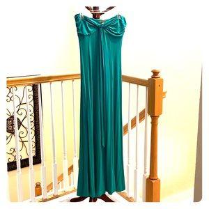 Teal strapless maxi bandeau dress